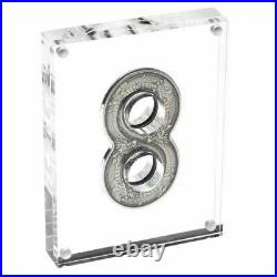 2018 $2 Coin Figure 8 Eight Dragon 2oz Silver Antiqued Coin Perth Mint