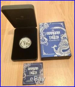 2018 2 OZ AUSTRALIA DRAGON & TIGER 9999 SILVER HIGH RELIEF PROOF COIN with BOX COA