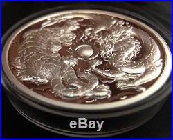 2018 2 Oz Australia Dragon & Tiger 9999 Silver High Relief Proof Coin/box & Coa