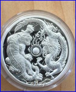 2018 2 Oz Australia Dragon & Tiger Silver High Relief Proof Coin/box & Coa New