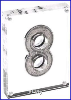 2018 2 Oz Silver Australia $2 FIGURE EIGHT DRAGON Antique Finish Coin