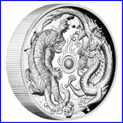 2018 2 oz Australia Dragon & Tiger High Relief Silver Proof Coin Perth Mint New