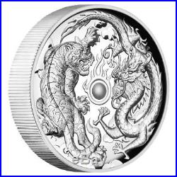 2018 2 oz Australia Dragon and Tiger 9999 Silver High Relief Proof Coin