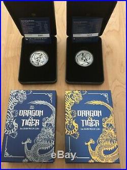 2018 2019 AUSTRALIA DRAGON & TIGER SILVER PROOF 1 OZ 2 OZ with BOX COA 2 COIN LOT