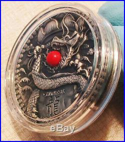 2018 2oz Red Coral CHINESE DRAGON Silver Ultra-High-Relief $2 Coin Niue/Poland