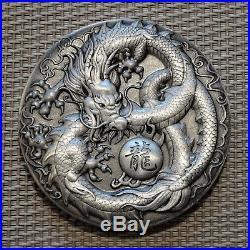 2018 5 oz Antiqued Dragon High Relief Silver Coin