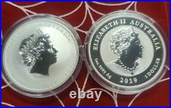 2018 Australia Perth Mint Dragon Tiger and 2019 Double Dragon 1 oz Silver Coins