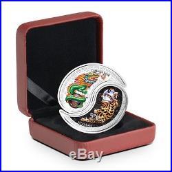 2018 Canada 1 oz Silver Yin & Yang Tiger & Dragon Colorized Coin In Capsule