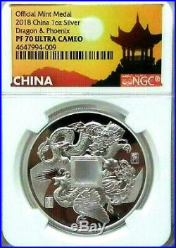 2018 China Dragon & Phoenix 1 oz Silver Proof Medal NGC PF70 UC (last one)