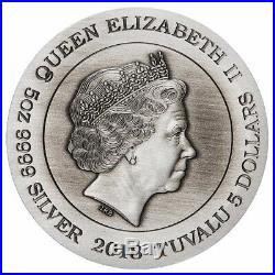 2018 Dragon 5oz Silver Antiqued Coin
