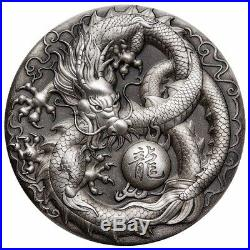 2018 Dragon 5oz Silver Antiqued High Relief Coin Autographed (COA 1-50)
