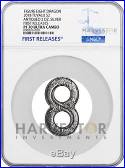 2018 FIGURE EIGHT DRAGON 2 OZ. SILVER COIN NGC PF70 FIRST RELEASES WithOGP