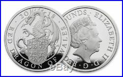 2018 G. Britain 2£ PROOF Silver 1oz Queen's Beasts'Red Dragon of Wales' PF69 UC