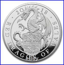 2018 GB Proof 10 oz Silver Queen's Beast Dragon (Box & COA)
