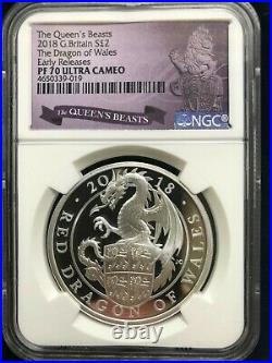 2018 GB Queens Beasts The Dragon of Wales 1oz Silver NGC PF70 Early Releases