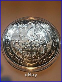 2018-Great-Britain-10-Oz-Silver-Queens-Beast-Coin-The-DRAGON-in-Capsule