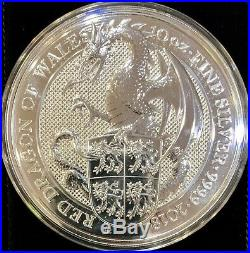 2018 Great Britain 10 oz Silver Queen's Beasts The Dragon GEM BU In Mint Capsule