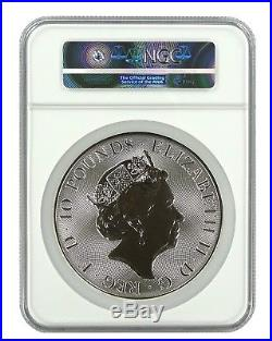 2018 Great Britain 10oz Silver Queens Beast Dragon Coin NGC MS70 Early Releaes
