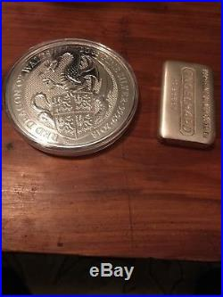 2018 Great Britain Queens Beast Red Dragon Of Wales £10 Coin SILVER 10 oz. 9999