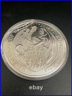 2018 Great Britian Queen Beasts Red Dragon 10 Oz 999 Fine Silver Bu Rare