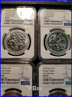 2018 Niue $2 Double Dragon Pearl Of Wisdom Silver 1 Oz Ngc Ms 69 Er Lot Of 5