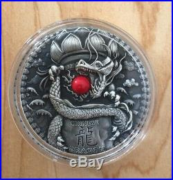 2018 Niue CHINESE DRAGON ANTIQUE 2 OZ SILVER COIN WITH RED CORAL DRAGONS SERIES
