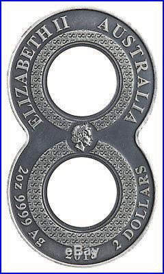 2018-P $2 Australia Figure Eight Dragon 2oz. 9999 Silver Coin