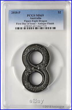 2018-P $2 Australia Figure Eight Dragon 2oz. 9999 Silver Coin PCGS MS69 FD
