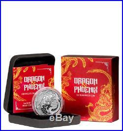 2018-P Australia 1 oz Silver Dragon & Phoenix $1 Coin GEM Proof OGP SKU54005
