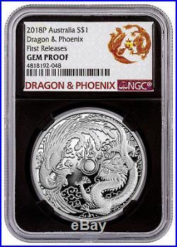 2018-P Australia 1 oz Silver Dragon & Phoenix $1 NGC GEM Proof FR Black SKU54004