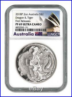 2018-P Australia 2 oz. High Relief Silver Tiger & Dragon NGC PF69 UC FR SKU54543