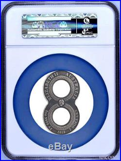2018 P Australia Figure Eight Dragon ANTIQUED 2 Oz Silver $2 COIN NGC PF70 ER