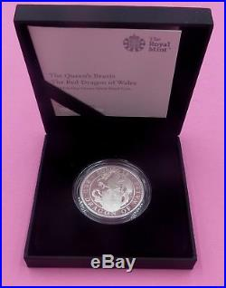 2018 QUEEN'S BEASTS RED DRAGON OF WALES 1oz SILVER PROOF COIN BOX AND COA