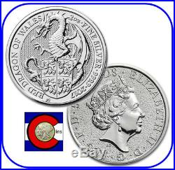 2018 Queen's Beast Red Dragon of Wales 10 oz Silver UK Coin in Mint capsule