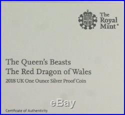2018 Queen's Beasts The Red Dragon of Wales 1oz Silver Proof £2 coin, COA, Box