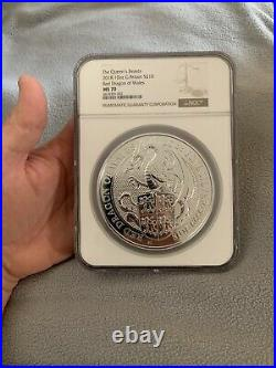 2018 Queens Beast MS70 10oz Red Dragon Of Wales