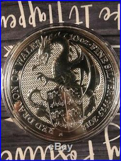2018 Queens Beast Red Dragon of Wales 10 Oz. 9999 Silver Coin