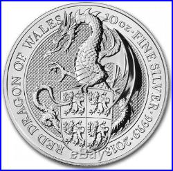 2018 Queens Beast Red Dragon of Wales 10oz Silver Bullion Coin. 999 UK Seller