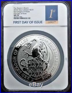 2018 RED DRAGON Great Britain Ag 10 oz Queen's Beasts Coin NGC MS 70 FIRSTDOI