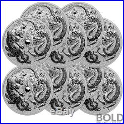 2018 Silver 1 oz Australia Perth Dragon & Tiger BU (10 Coins)