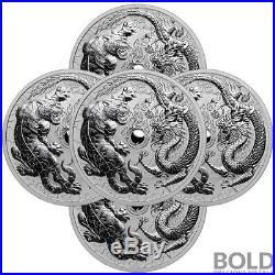 2018 Silver 1 oz Australia Perth Dragon & Tiger BU (5 Coins)