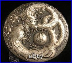2018 Tuvalu 5 oz Silver Dragon Antiqued High Relief Coin