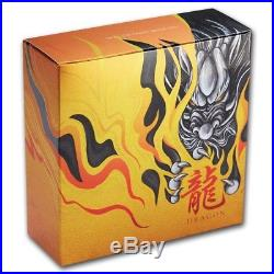2018 Tuvalu 5 oz Silver Dragon Antiqued High Relief Coin with Box and COA