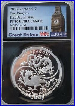 2018 Two Dragons 1OZ SILVER Proof NGC PF70 UK COIN £2 GREAT BRITAIN Two Pound