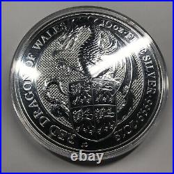 2018 UK Queen's Beasts Red Dragon of Wales 10 oz Silver Coin. 9999 fine