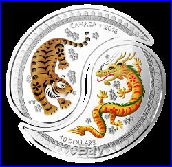 2018 Yin and Yang Tiger and Dragon $20 (2x$10) Pure Silver Split Coin Canada