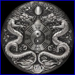 2019 $2 Double Dragon 2oz Antiqued High Relief Silver Coin by Perth Mint