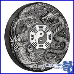 2019 $2 Dragon and Phoenix 2oz Silver Antiqued Coin