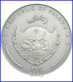 2019 2 Oz Silver $10 Palau GREEN DRAGON Mythical Creatures Coin
