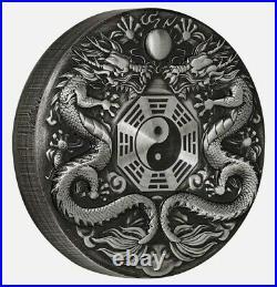 2019 2 Oz Silver $2 Tuvalu DOUBLE DRAGON Antique Finish Coin